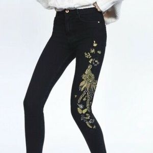 ZARA Embroidered Skinny High waisted jeans size 0